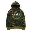 Drawstring Hooded Raglan Long Sleeve Camouflage WTAPS Letter Printed Hoodie Sweatshirt with One Pocket