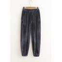 Women's Elastic High Waist Plain Velvet Sport Harem Pants