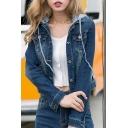 New Stylish Detachable Hooded Single Breasted Cropped Denim Jacket
