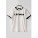 Contrast Trim Round Neck Short Sleeve Letter Print Casual T-Shirt