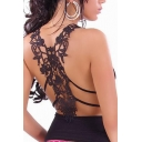 Sexy Lace Crochet Back Plunge V-Neck Sleeveless Plain Tee