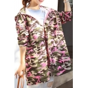 New Arrival Hooded Zip Placket Long Sleeve BF Style Camouflage Print Tunic Coat
