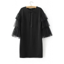 Lace Patchwork 3/4 Length Sleeve Zip Back Plain Mini T-Shirt Dress with Bow Front