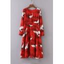 Women's Round Neck Long Sleeve Zip Back Crane Print A-Line Pleated Dress