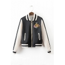 Embroidery Bird Floral Pattern Stand-Up Collar Zipper Placket Color Block Bomber Jacket