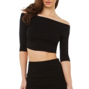 Sexy Off the Shoulder Half Sleeve Plain Cropped Tee