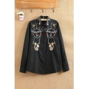 Funny Embroidery Tribal Stylish Single Breasted Lapel Long Sleeve Shirt