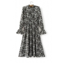 Floral Print Stand-Up Collar Long Sleeve Flare Cuff A-Line Dress