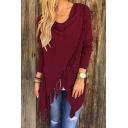 Fashion Tassel Single Button Long Sleeve Crew Neck Plain Asymmetric Outwear