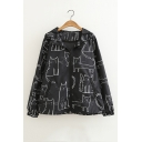 Basic Cartoon Graffiti Print Hooded Long Sleeve Zip Placket Casual Coat