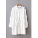 Letter Embroidery Lapel Floral Pattern Plain Tunic Button Down Shirt