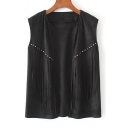 Fashion Tassel Rivet Embellished Open-Front Sleeveless Plain Vest