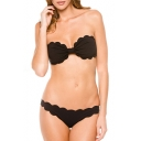 Sexy Bandeau Scallop Trim Plain Bikinis