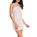 New Design Hollow Out Round Neck Sleeveless Lace Patched Mini Pencil Dress