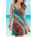 New Fashion Colorful Printed Plunge Neck Sleeveless Mini A-Line Dress