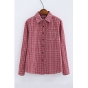 Girl's Classic Plaid Print Lapel Collar Long Sleeve Buttons Down Shirt with One Pocket