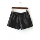 Women's Drawstring Waist Plain PU Wide Leg Loose Shorts
