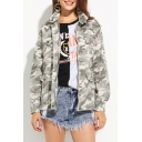 Fashion Notched Lapel Zipper Placket Camouflage Printed Color Block Coat