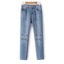 High Waist Cat Face Embroidery Wash Blue Skinny Denim Pants