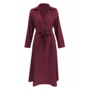OL Stylish Lapel Wrap Front Belt Waist Long Sleeve Plain Tunic Shirt Dress