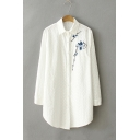 Women's Lapel Collar Long Sleeve Chic Floral Embroidered Buttons Down Tunic Shirt