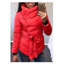 New Stylish Oblique Button Placket Belt Waist High Neck Plain Padded Coat