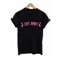 Street Style Round Neck Short Sleeve Letter Pattern Cotton Loose T-Shirt
