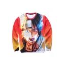 New Fashion Round Neck Long Sleeve Funny Cartoon Pattern Pullover Sweatshirt