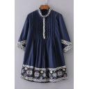 New Stylish Pleated Front 3/4 Length Sleeve Stand-Up Collar Tribal Embroidery Mini A-Line Dress