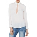 Lapel Collar Long Sleeve Hollow Out Chest High Low Hem Sheer Blouse