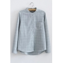High Low Hem Raglan Long Sleeve Stand-Up Collar Plaid Single Breasted Shirt with Pocket