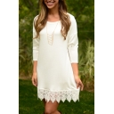 Elegant Floral Pattern Hem 3/4 Length Sleeve Plain Mini Sweater Dress