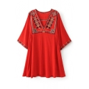 V Neck Half Sleeve Tribal Embroidery Red Flared Mini A-Line Dress