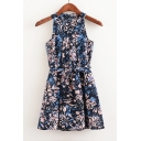 Floral Printed Color Block Sleeveless Zip-Back Mini A-Line Summer Dress with Belt