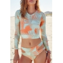 Fashion Long Sleeve Printed Color Block Cutout Bikinis Swimwear