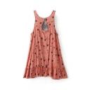 Women's Cutout Back Printed Sleeveless High Low Ruffle Hem Asymmetric Dress