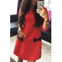 New Fashion Round Neck 3/4 Sleeve Bow Design Plain Mini Shift Dress