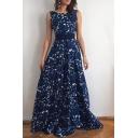 Women's Elegant Round Neck Sleeveless V Back Bow Waist Floral Print A-Line Maxi Dress