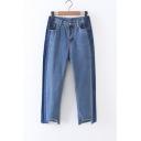 Fashion Mid Waist Cutout Ripped Hem Color Block Ankle Length Jeans