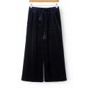 Fashion Drawstring Elastic Waist Plain Cropped Wide Leg Pants