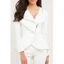 Women's Fashion Lapel Collar Asymmetrical Zip Placket Long Sleeve Plain Blazer Coat