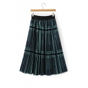 Elastic Waist Plaid Color Block Midi Pleated Skirt
