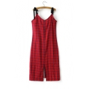 New Fashion Plaid Print Spaghetti Straps Sleeveless Split Trim Pencil Slip Dress