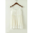 New Arrival Sweet Spaghetti Straps Buttons Down Front Lace Patched Layered Cami