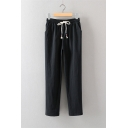 Plain Elastic Drawstring Waist Linen Stretch Casual Loose Tapered Pants with Pockets