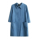 Folded Collar 3/4 Sleeve Zip Back Plain Denim Shift Dress with Double Pockets