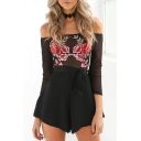 Women's Fashion Off the Shoulder Long Sleeve Sheer Floral Appliqued Tie Waist Rompers