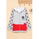 Lovely Cat Pattern Color Block Long Sleeve Hooded Zip Placket Cotton Coat
