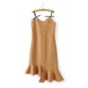 Special Asymmetric Ruffle Hem Sleeveless Spaghetti Straps Plain Cami Dress