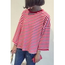 Classic Striped Print Round Neck Long Sleeve Casual Loose Pullover T-Shirt